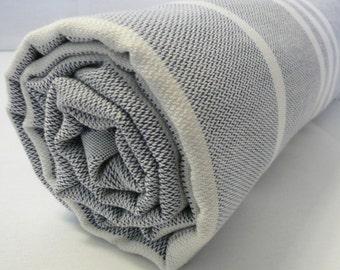 Turkish Bath Towel...PESHTEMAL(101) Dark Blue-White