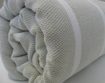 BEIGE-WHITE Bath Towel...PESHTEMAL(107)
