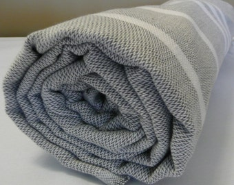 Turkish Bath Towel...PESHTEMAL(105) GRAY-WHITE