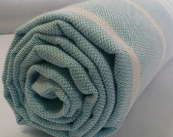 Turkish Bath Towel...PESHTEMAL(103) TURQUOISE-WHITE
