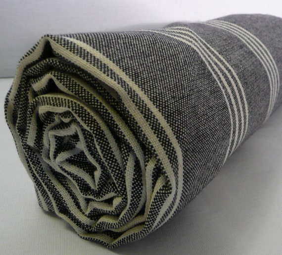 BLACK beach towel, Turkish Bath towel