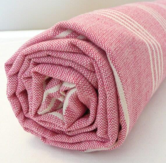 Pink bath towel...Turkish Bath Towel...PESHTEMAL PINK