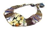 Sale - Collar Bib Necklace Fiber Necklace Textile Necklace Eco Fashion Spring Necklace Summer Necklace Lightwieght Necklace Under 50 OOAK