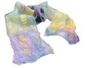 SALE - Cobweb Felt Scarf Wool Scarf Pastel Scarf Spring Scarf Spring Fashion Womens Scarf in Purple Blue Yellow under 75 OOAK