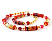Beaded Necklace Fiber Necklace Gift for Her Spring Necklace Summer Necklace Textile Necklace Fabric Necklace in Red Orange Yellow White OOAK