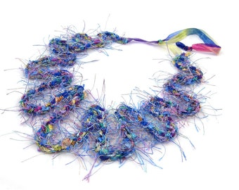 Braided Fiber Necklace Gift for Her Blue Necklace Spring Necklace Summer Jewelry Purple Green Pink and Blue Jewelry Summer Necklace OOAK