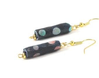 SALE - Textile Earrings Fiber Earrings Gift for Her Blue Earrings Fabric Dangle Earrings Drop Earrings Peach  Blue Aqua Polka Dots OOAK