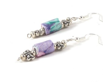 SALE - Textile Earrings Fiber Earrings Gift for Her Pastel Dangle Earrings Fabric Earrings Spring Earrings Drop Earring Pink Lavender Aqua