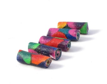 Fiber Beads Textile Beads Fabric Beads in Bright Primarys of Green, Orange, Blue, Red, Yellow, Magenta and Black
