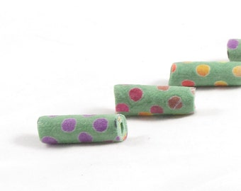 Handmade Fabric Beads Fiber Textile Bugle Beads Big Hole Large Hole  Geometric Print Polka Dots in Pink Yellow Peach Green Spring Summer