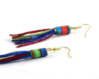 SALE-Fiber Earrings Drop Earrings Fabric Earrings Gift for Her Dangle Earrings Tassel Long Earrings Bright Red Blue Green Yellow OOAK