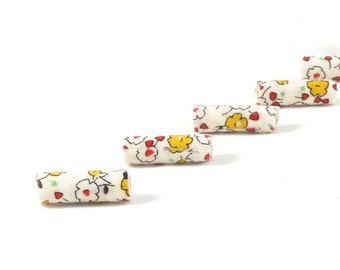 Fiber Beads Textile Beads Fabric Beads in Red Yellow and White with Hints of Green and Black