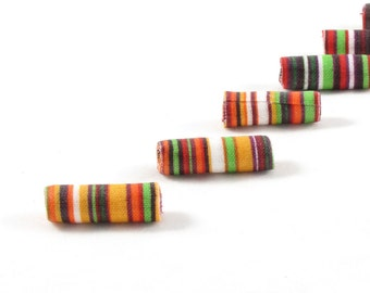 Fiber Beads Textile Beads Fabric Beads in Stripes of Green, Red, Orange, Gold, Brown and White