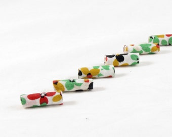Fiber Beads Textile Beads Fabric Beads with a Floral in Green, Gold, Red, Black and White