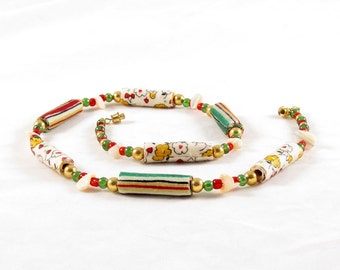 Beaded Necklace Fiber Necklace Textile Necklace Gift for Her Fabric Necklace Spring Jewelry in Green Yellow White Red Yellow Gift for Mom