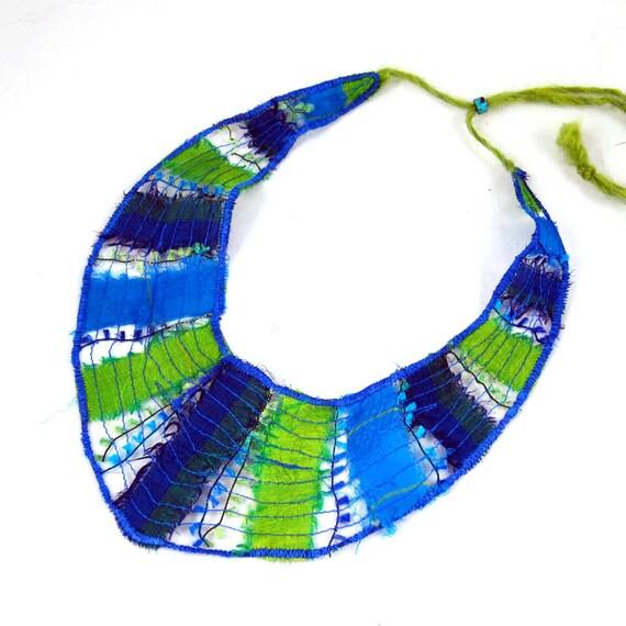 Sale-Bib Necklace Fiber Necklace Textile Necklace Lightweight Necklace Spring Necklace Summer Necklace Blue Green Eco Fashion Under 30 OOAK