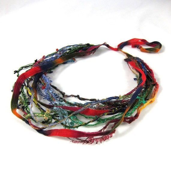Multistrand Fiber Necklace Textile Necklace in Bright Primary Shades of Red, Blue, Green, Purple, Pink, Yellow and Orange