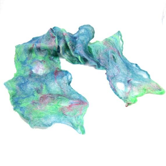 SALE - Cobweb Felt Scarf Wool Scarf Green Scarf Spring Scarf Spring Fashion Fall Scarf Womens Scarf Green Teal Blue Gift for her OOAK