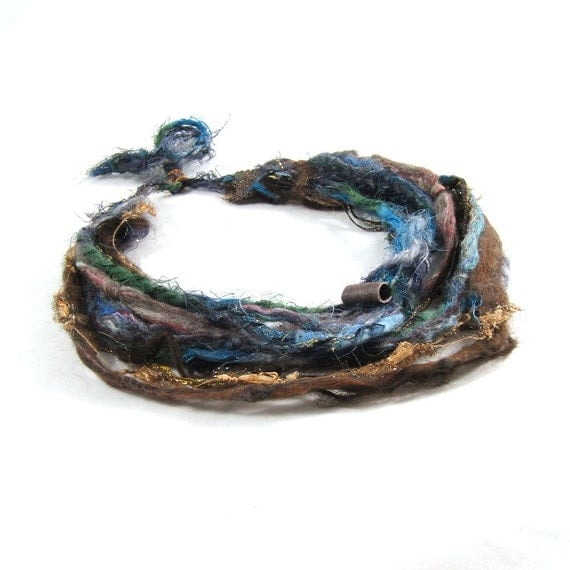 Multistrand Felt Necklace Fiber Necklace Textile Necklace in Brown, Blue and Green
