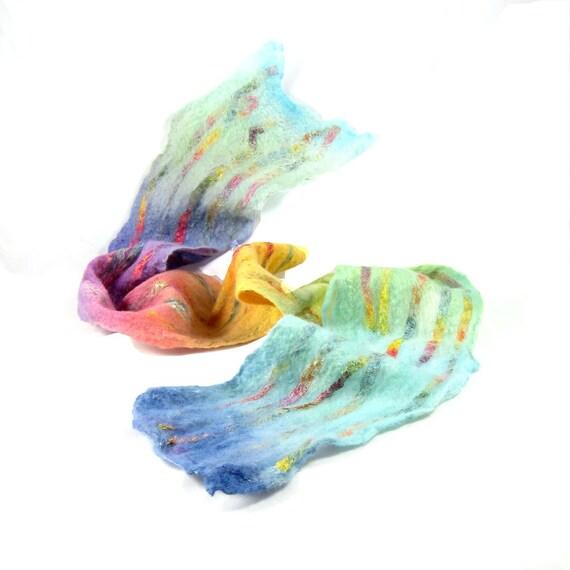 Cobweb Felt Scarf Wool Scarf Winter Scarf Winter Fashion Pastel Scarf Womens Scarf Blue Aqua Yellow Gold Pink and Purple Under 50 OOAK