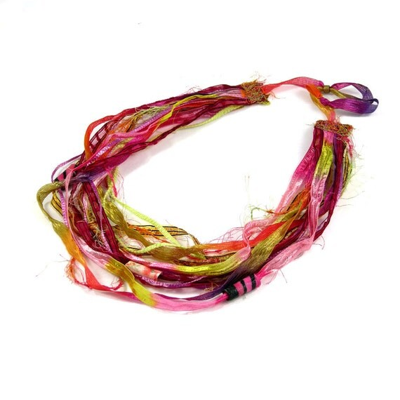 Sale-Multistrand Necklace Pink Necklace Pink Jewelry Textile Necklace Spring Necklace Summer Necklace Pink Gold Yellow Fuchsia Under 30 OOAK