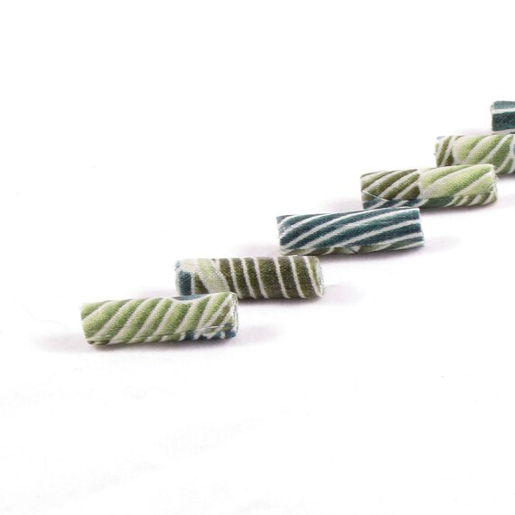 Fiber Beads Textile Beads Fabric Beads in Shades of Green