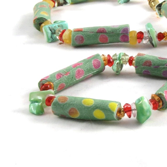 SALE - Bead Necklace Fiber Necklace Gift for Her Textile Fabric Necklace Polka Dots Jewelry Spring Necklace Summer Necklace Mint Green