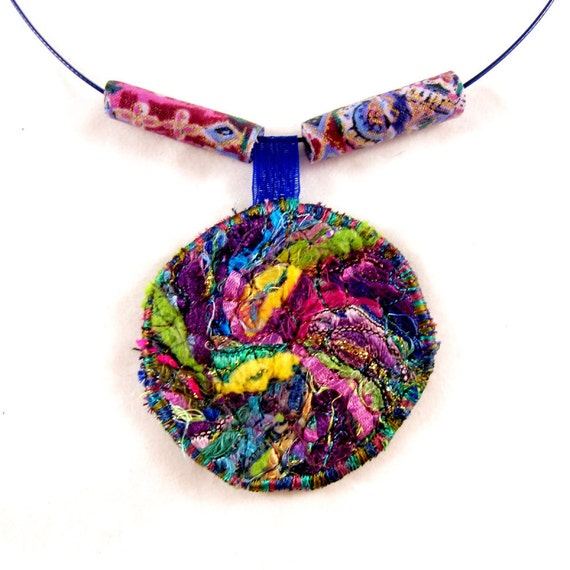 Collage Fiber Necklace Textile Necklace Green, Purple, Magenta, Blue and Yellow jewelry under 25