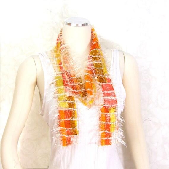 Ribbon Scarf Sari Silk Scarf in Orange, Yellow and Cream Free Trade Recycled