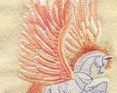 PEGASUS - Machine Embroidered Quilt Block (AzEB)