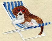 BEAGLE at the BEACH  - Machine Embroidered Quilt Block (AZEB)
