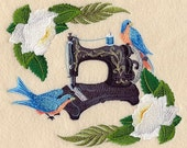 ANTIQUE SEWING MACHINE With Bluebirds - Machine Embroidery Quilt Block (AzEB)