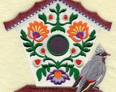 POLISH FOLK Art Birdhouse With Bohemian WAXWING - Machine Embroidery Quilt Block (AzEB)