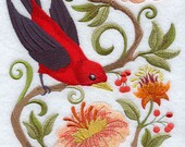 SCARLET TANAGER in FLOWERS - Machine Embroidered Quilt Blocks (AzEB)