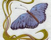 ART NOUVEAU BUTTERFLY 3 - Machine Embroidered Quilt Blocks (AzEB)
