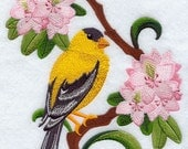 WASHINGTON WILLOW GOLDFINCH & Rhododendron Medley - Machine Embroidery Quilt Block (AzEB)
