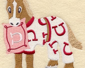 HORSE In PAJAMAS - Machine Embroidery Quilt Block (AzEB)