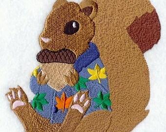 SQUIRREL IN PAJAMAS - Machine Embroidered Quilt Block (AzEB)