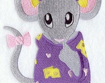 MOUSE In PAJAMAS - Machine Embroidered Quilt Block(AzEB)
