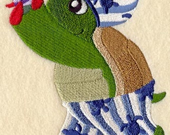 TURTLE IN PAJAMAS - Machine Embroidered Quilt Block (AzEB)