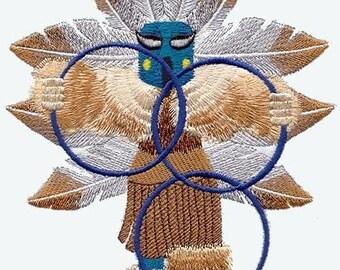HOOP DANCER KACHINA Dolls - Machine Embroidered Quilt Block (AzEB)