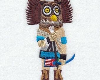 OWL KACHINA DOLL - Machine Embroidered Quilt Block (AzEB)