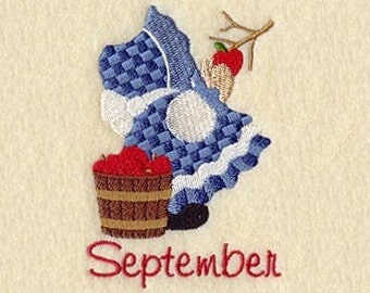 SUNBONNET SUE MONTHS of the Year (September) - Machine Embroidery Quilt Block (AzEB)
