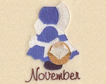 SUNBONNET SUE MONTHS of the Year (November) - Machine Embroidery Quilt Block (AzEB)