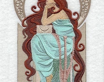 LADY KATI- Machine Embroidery Quilt Block  (AZEB)