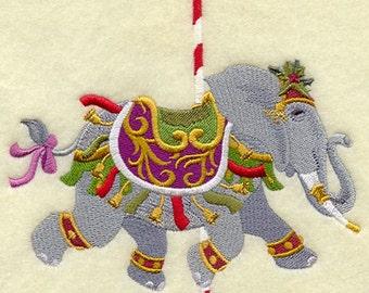 CAROUSEL CHRISTMAS ELEPHANT - Machine Embroidered Quilt Block (AzEB)