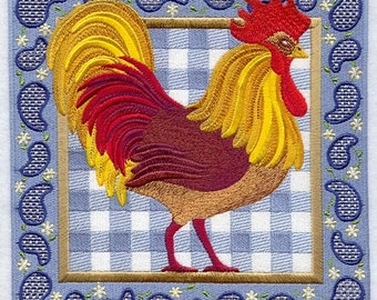 GINGHAM PAISLEY ROOSTER - MACHINE EMBROIDERED QUILT BLOCKS (AZEB)