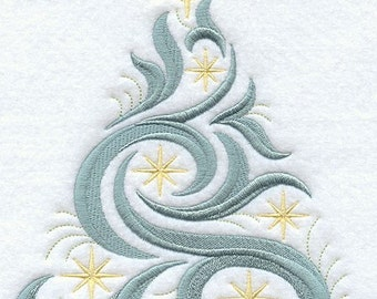 SWIRLING TREE (large) - Machine Embroidery Quilt Block (AZEB)