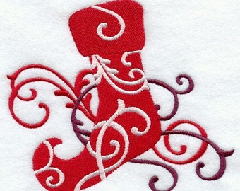 FILIGREE STOCKING - Machine Embroidery Quilt Block (AzEB)