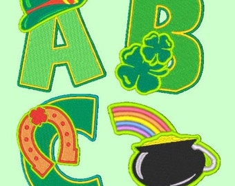 LUCKY CHARMS  - 70 Machine Embroidery Font Designs Instant Download 4x4 5x7 6x10 hoop (AzEB)